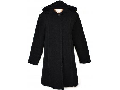 Vlněný (80%) dámský šedočerný zateplený kabát s kapucí Kaprost 44