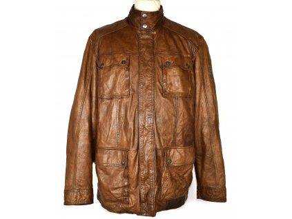 KOŽENÁ pánská hnědá měkká zateplená bunda na zip Engbers 56/XXL