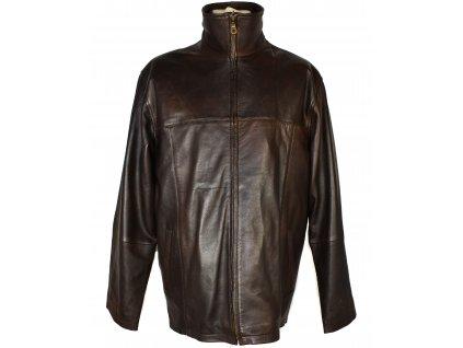 KOŽENÁ pánská hnědá měkká bunda na zip s odnimatelnou vložkou EVOCO XL/XXL