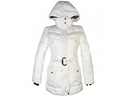Dámský bílý prošívaný kabát s páskem a kapucí White Mountains S