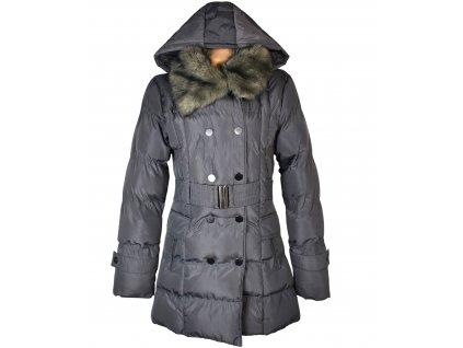 Dámský šedý prošívaný kabát s páskem a kapucí GATE L