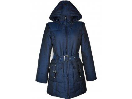 Dámský modrý prošívaný kabát s páskem a kapucí Tom Tailor M