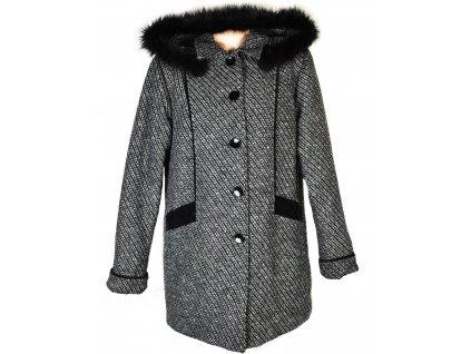 Dámský černobílý zimní kabát s kapucí XXL