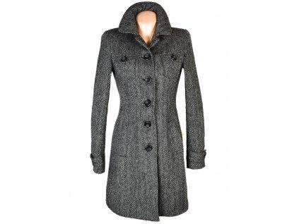 Vlněný dámský šedočerný melírovaný kabát Clockhouse S/M