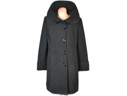 Vlněný (50%) dámský šedý dlouhý zimní kabát Adrianno Damianii 46/18