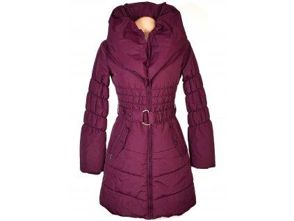 Dámský šusťákový fialový kabát s páskem, límcem ORSAY
