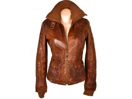 KOŽENÁ dámská hnědá bunda na zip Freaky Nation S