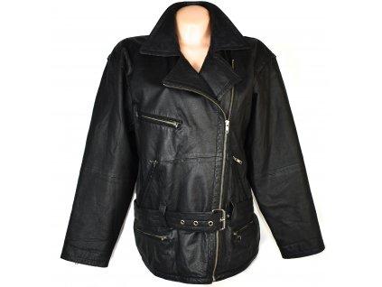 KOŽENÝ dámský černý měkký kabát - křivák XL