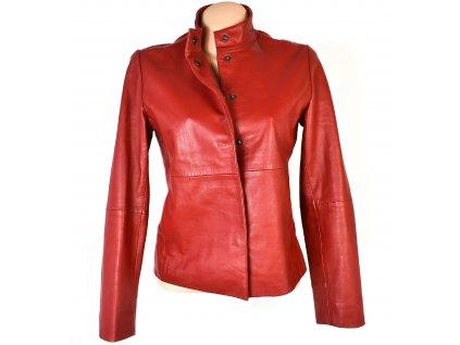 KOŽENÁ dámská červená měkká bunda na zip Stefanel M