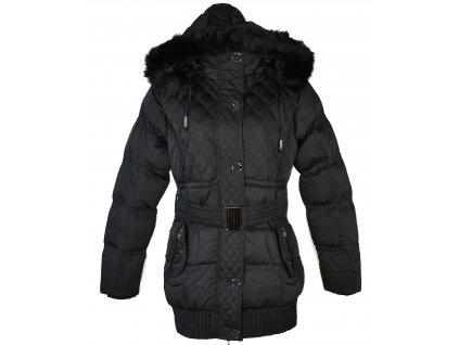 Dámský černý prošívaný zimní kabát s páskem a kapucí H&S L