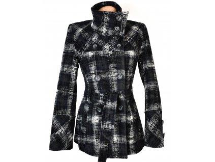 Vlněný dámský kostkovaný zateplený kabát s páskem 36