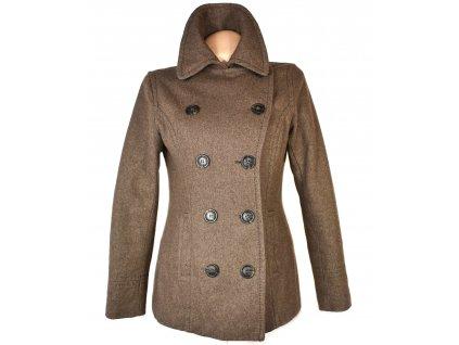 Vlněný (55%) dámský hnědý zateplený kabát H&M M