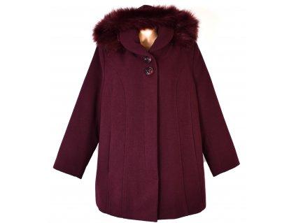 Dámský vínový zimní kabát s kapucí Ava Style 52