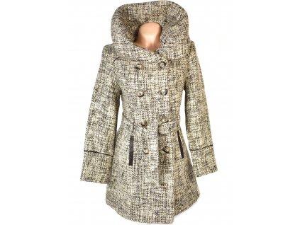 Dámský hnědobéžový kabát s páskem a límcem CAMAIEU L