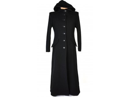 Vlněný (66%) dámský dlouhý černý kabát IBC Fashion style (vlna, kašmír) 38