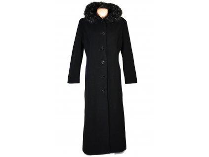 Dámský dlouhý černý kabát s kapucí XL/XXL