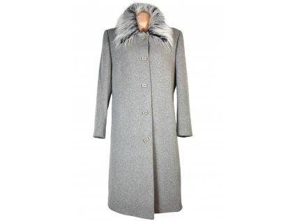 Vlněný (75%) dámský dlouhý šedý kabát s kožíškem XXL