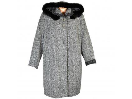 Vlněný dámský zimní kabát s kapucí s pravým kožíškem Ava styl 54