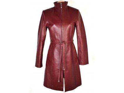 KOŽENÝ dámský vínový kabát s páskem CERO S