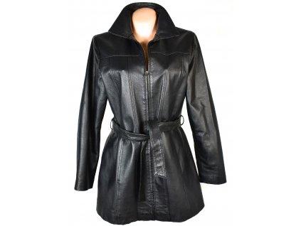 KOŽENÝ dámský černý měkký kabát s páskem XL