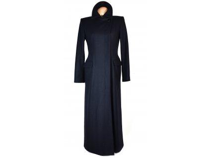 Vlněný (55%) dámský dlouhý modrý kabát Marks&Spencer M
