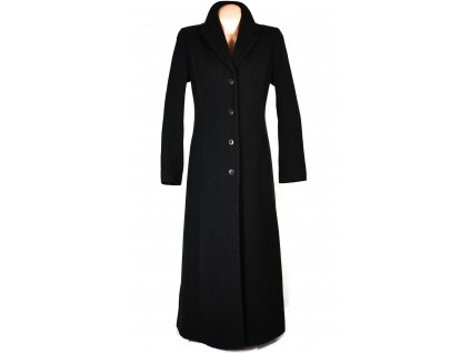 Vlněný (70%) dámský dlouhý černý kabát Ennia Morri (vlna, kašmír) 38