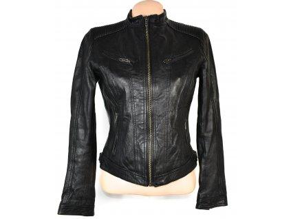 KOŽENÁ dámská černá měkká bunda na zip Rock and Blue 38
