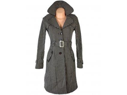 Bavlněný dámský hnědý puntíkovaný kabát s páskem Vertigo Paris XS