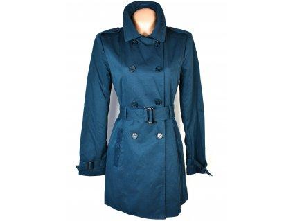 Bavlněný dámský modrý petrolejový kabát s páskem ORSAY 40