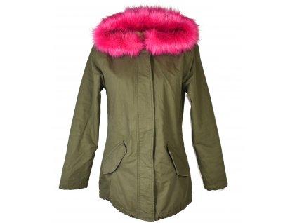 Bavlněná dámská khaki zelená zimní parka s kapucí MSHLL GIRL L
