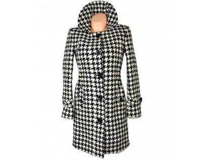 Dámský černobílý kabát - kohoutí stopa S