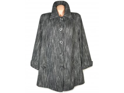 Nadměrný dámský šedočerný melírovaný kabát 52