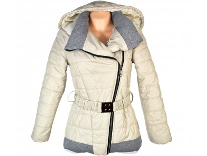 Dámský béžový prošívaný kabát s páskem a kapucí Miss Forever S