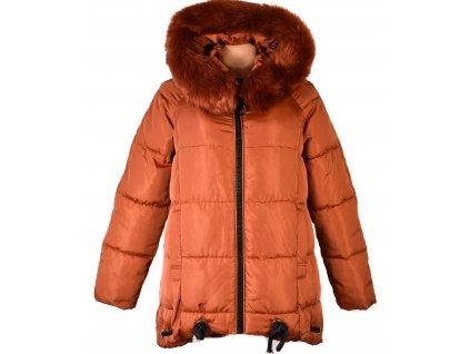 Dámský prošívaný cihlový zimní kabát s kapucí FLY M