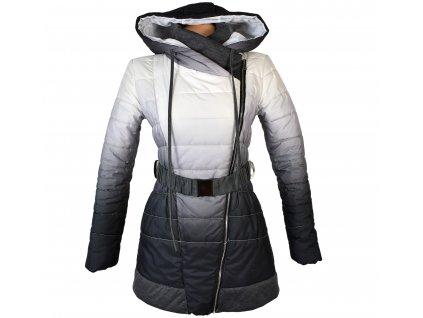 Dámský prošívaný kabát s páskem a kapucí S