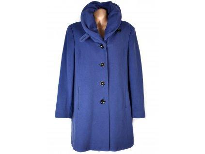Vlněný (70%) dámský modrý kabát M-Style (vlna, kašmír) 48