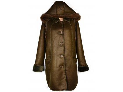 Zimní dámský hnědý kabát s kapucí XXL+