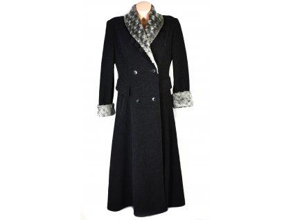 Vlněný (70%) dámský dlouhý šedočerný kabát s kapucí (vlna, kašmír) M