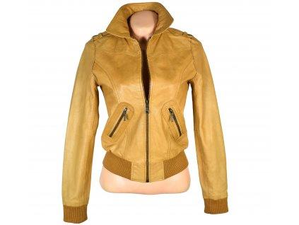 KOŽENÁ dámská hnědá měkká bunda na zip Jennyfer M