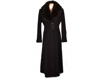Vlněný dámský dlouhý šedočerný kabát s kožíškem Móda Marlene L