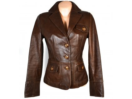 KOŽENÉ dámské hnědé měkké sako Leather wear collection S