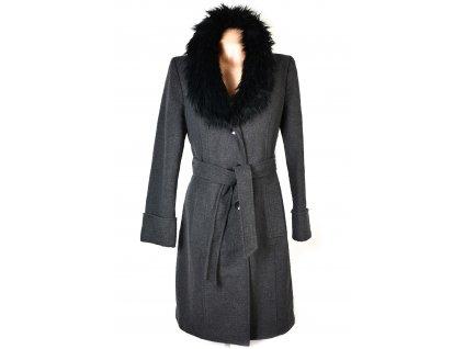 Vlněný dámský šedý kabát s kožíškem F&F 42