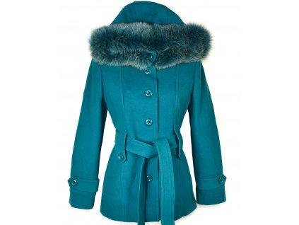 Vlněný (75%) dámský tyrkysový kabát s kapucí Yves Tanguy (vlna, kašmír) M/L