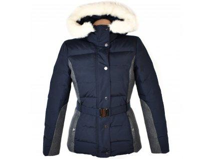 Péřový dámský modrý prošívaný kabát s páskem a kapucí PROMOD S