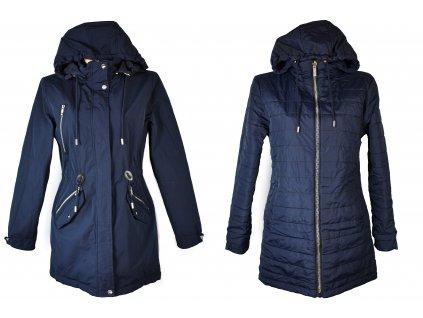 Oboustranná dámská modrá parka s kapucí M