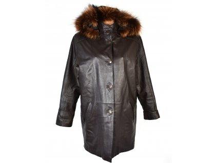 KOŽENÝ dámský hnědý měkký kabát s kapucí, odnimatelnou vložkou EVOCO L