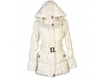 Dámský prošívaný smetanový kabát s páskem a kapucí Nature M