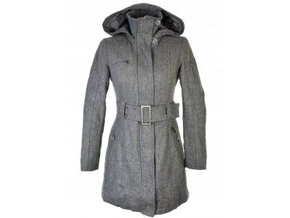 Vlněný (60%) dámský šedý kabát s páskem a kapucí 34/36
