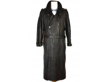 KOŽENÝ pánský hnědý měkký dlouhý kabát s páskem 50/ L