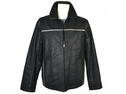 KOŽENÁ pánská černá měkká bunda na zip KARA 48